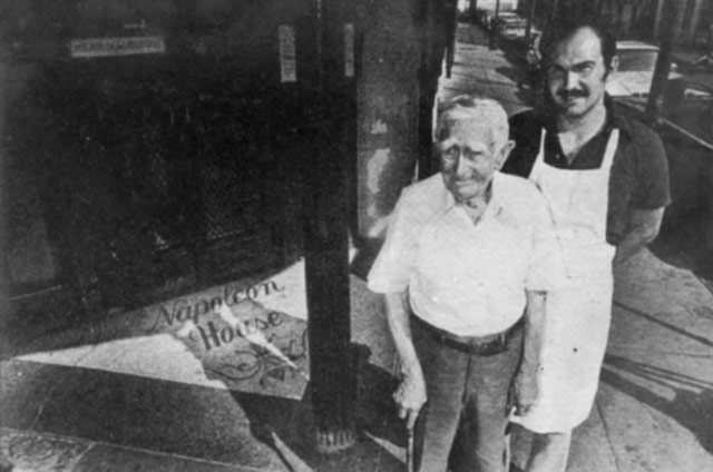 Photo of Peter and son Sal Impastato outside Napoleon House
